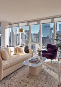 living room of luxury apartment for rent in River North, Chicago
