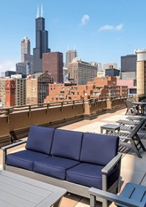 rooftop deck in South Loop apartment building with view of Willis Tower in Chicago