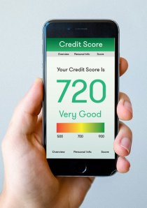 a smartphone screen displaying a tenant's credit score