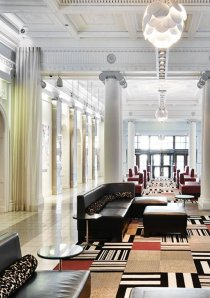a vintage apartment building lobby in Chicago