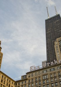 The Drake Hotel Chicago and 875 N Michigan Ave seen from the Gold Coast neighborhood of Chicago
