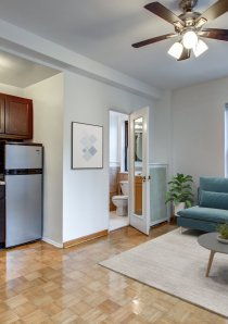 interior of a studio apartment for rent in Chicago