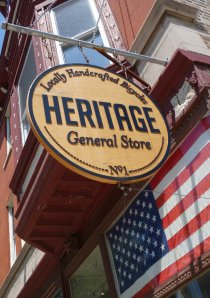 Heritage Bikes & Café sign outside of Lakeview shop in Chicago