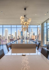 party room and lounge at luxury apartment building in River North Chicago