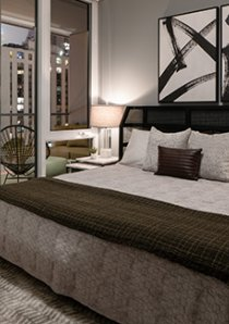 rendering of a bedroom in Chicago apartment for rent in Old Town