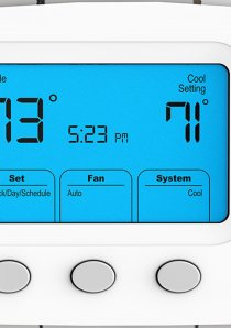 a thermostat displaying the temperature settings inside a Chicago apartment