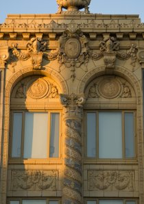 detail of terra cotta on outside of apartment building in Uptown Chicago