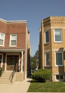 classic brick twoflat apartment buildings in Chicago