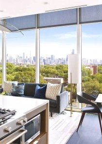 view of Chicago city skyline from new apartment for rent in Lincoln Park