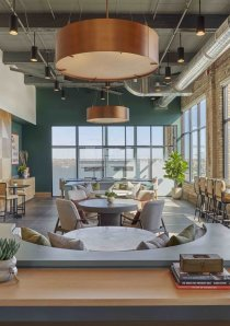 coworking space inside Logan Square apartments for rent at Fields Lofts Apartments