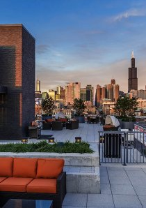 rooftop deck of apartment building in West Loop with view of Chicago skyline