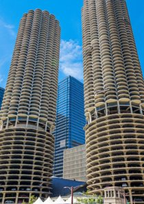 exterior of Marina City apartments in River North, Chicago