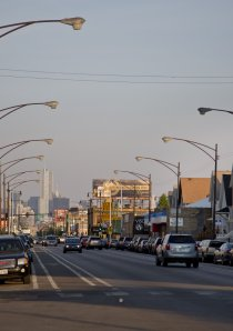 view of a Chicago street looking east towards downtown in the Avondale neighborhood