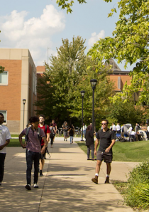 students walking on campus grounds in Chicago