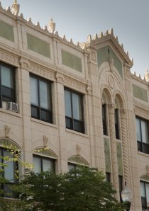 decorative terra cotta on the exterior of a vintage apartment building in Chicago