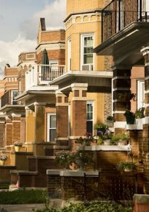 front porches of apartment buildings on a neighborhood street in Chicago