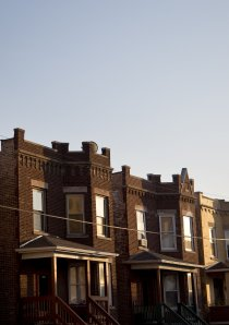 vintage apartment buildings on a street in Avondale neighborhood of Chicago