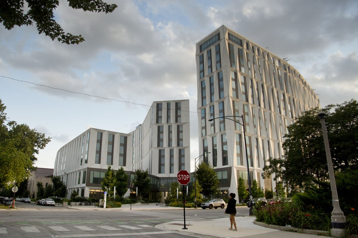 modern university buildings on University of Chicago campus in Hyde Park, Chicago