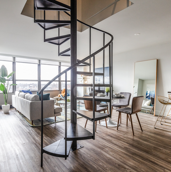 spiral stairs in Chicago apartment for rent