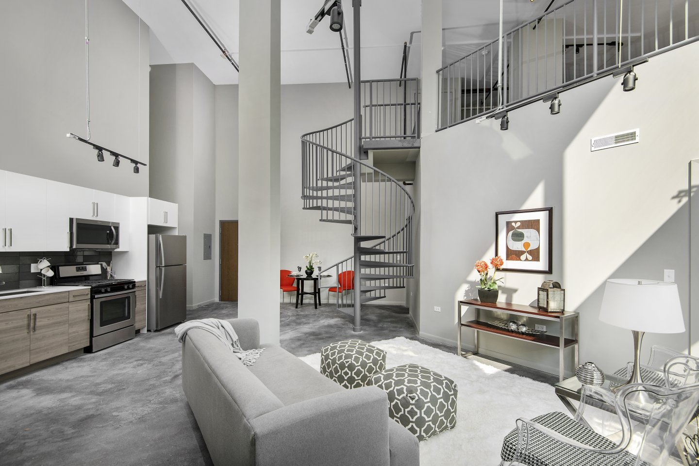 living room and kitchen at 1241 N Milwaukee Apartments in Chicago