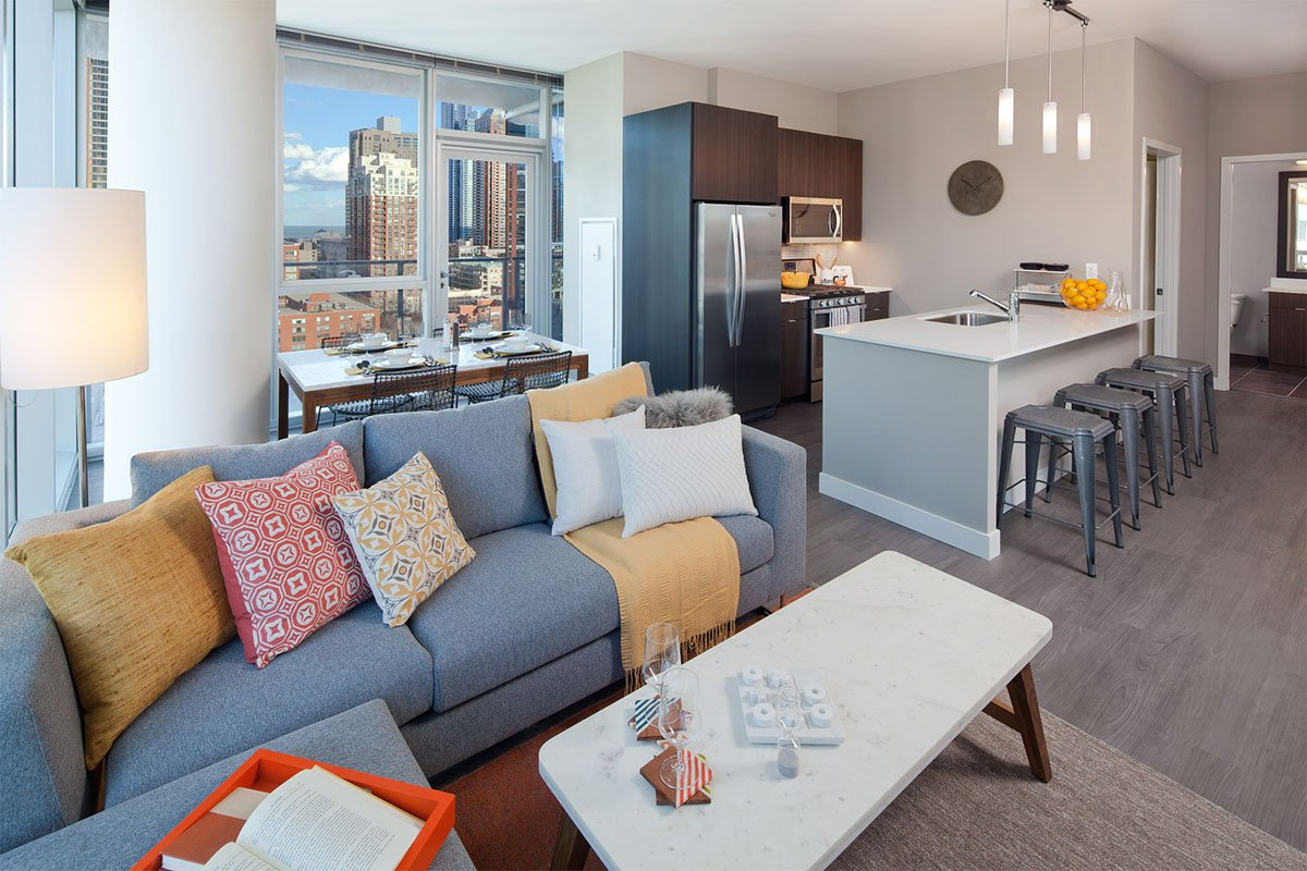 living room and skyline view at 1000 South Clark Apartments