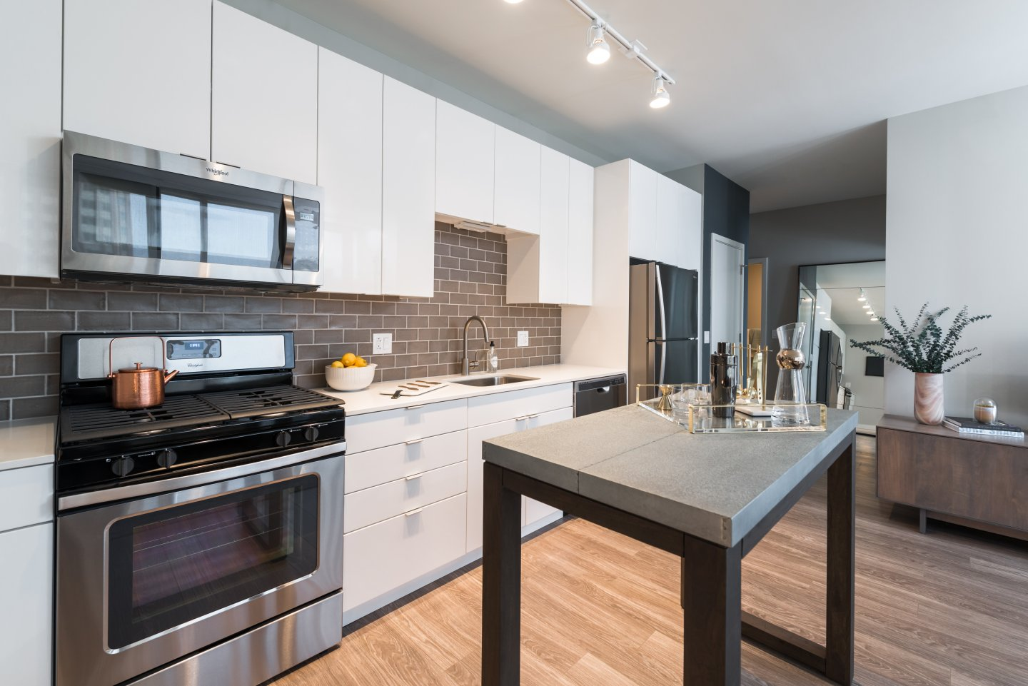 luxury kitchen and island at Aurélien Apartments in Gold Coast Chicago