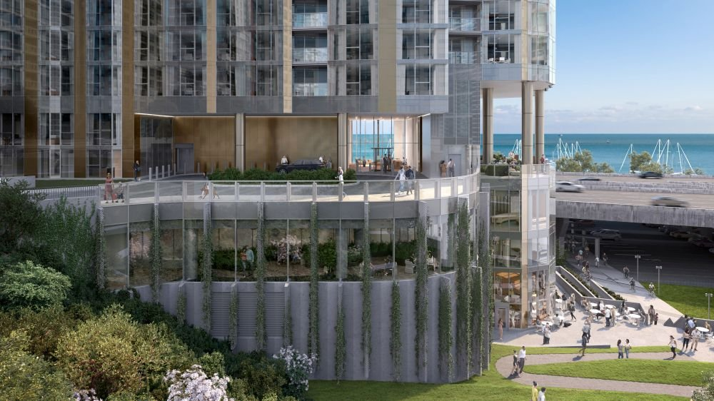rendering of Lakeshore East apartment tower Cascade at 455 E Waterside Dr