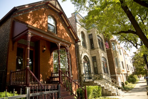 Classic row house and brick two flats in Tri-Taylor Chicago