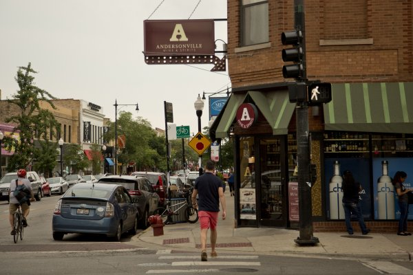 Andersonville Wine and Spirits on the corner of Foster and Clark in Chicago