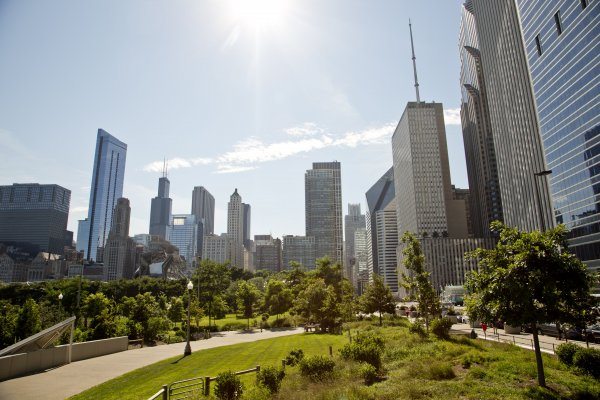 Maggie Daley Park and Chicago skyline in Lakeshore East Chicago