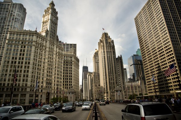 Wrigley Building and Tribune Tower exterior on N Michigan Ave in Streeterville Chicago