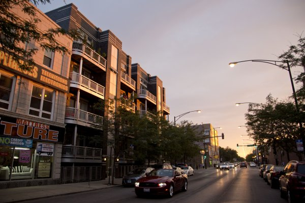 Apartment buildings at dusk in Albany Park Chicago