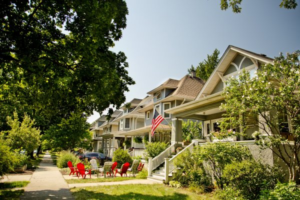 Lawn furniture and front porches on houses in Portage Park Chicago