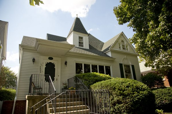 Vintage home exterior with staircase in North Park Chicago